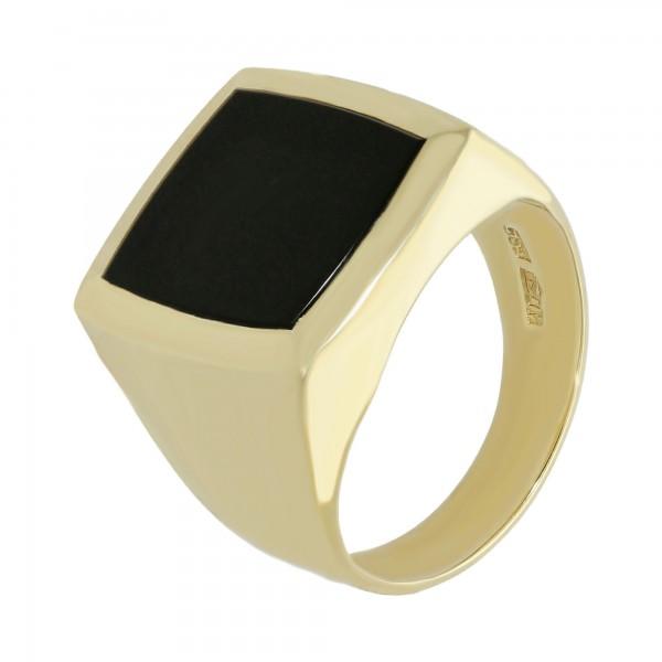 Ring 585 Gelbgold mit Onyx