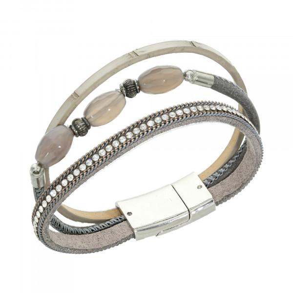 Armband Leder grau 3 reihig