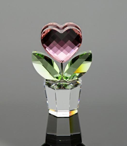 Swarovski-Figur Blumentopf mit Herz bunt