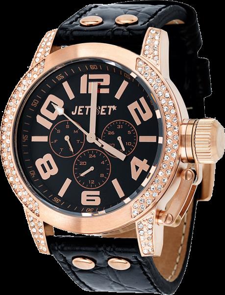 """Armbanduhr """"Jet Set"""" San Remo schwarz / roségoldfarbig mit weißen Kristallen J7414R-257"""