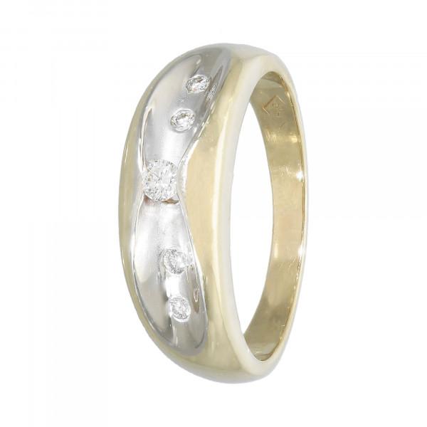 Ring 585 bicolor mit 5 Diamanten ca. 16/00