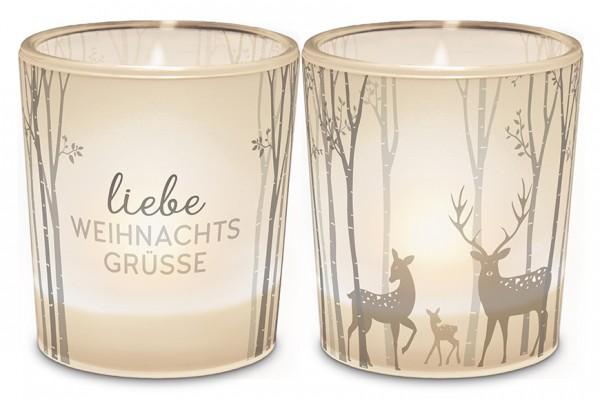 """Teelichthalter """"Liebe Weihnachtsgrüsse"""""""