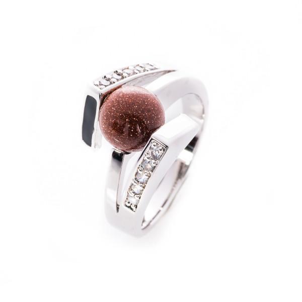 Ring Metall mit weißen Kristallen 4 Steine in Kugelform zum Austausch