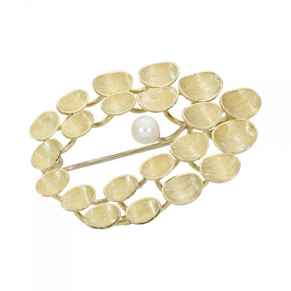 Brosche 585 Gelbgold mit 1 Perle