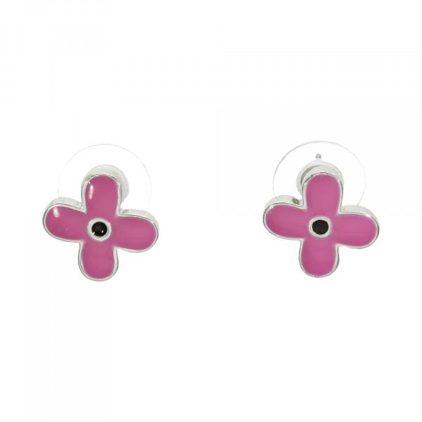 Ohrstecker mit Emaille schwarz/pink