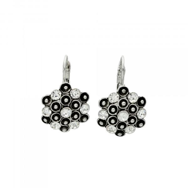 Ohrhänger mit Kristallen schwarz/weiß rhodiniert