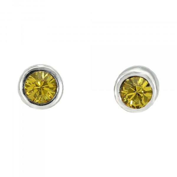 Ohrstecker rhodiniert mit Swarovski-Kristall gelb