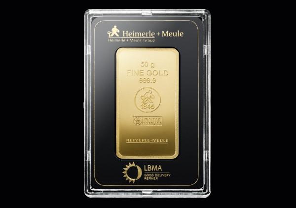Goldbarren 50 Gramm H+M geprägt