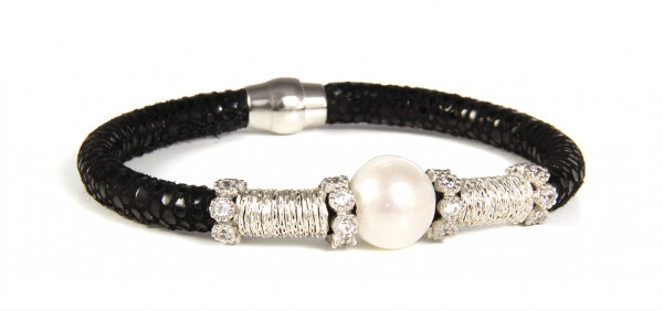 Armband Leder schwarz mit Perle + Zirkonia