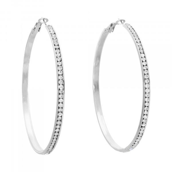 Creolen Metall xxl mit weißen Swarovski- Kristallen