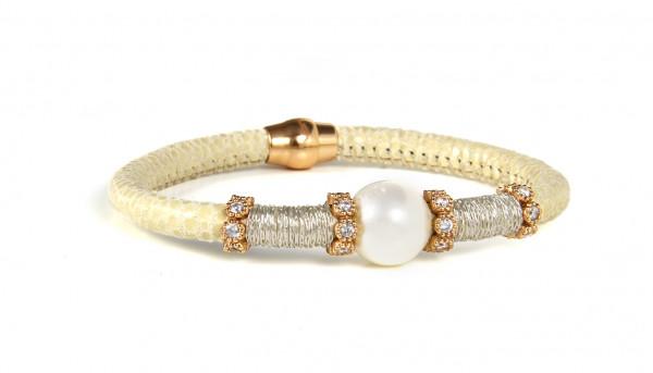 Armband Leder/Kupfer eierschalfarben mit Perle + Zirkonia