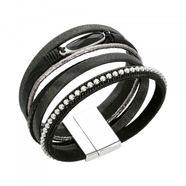 Armband Leder schwarz 6 reihig