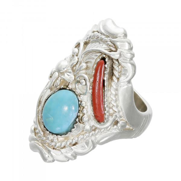 Ring 925 Silber mit Türkis und Koralle