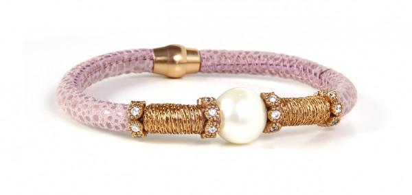 Armband Leder hautfarbig mit Perle + Zirkonia