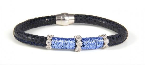 Armband Leder dunkelblau mit Zirkonia