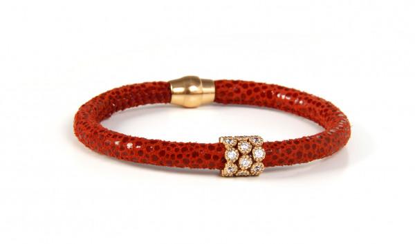 Armband Leder rot mit Zirkonia
