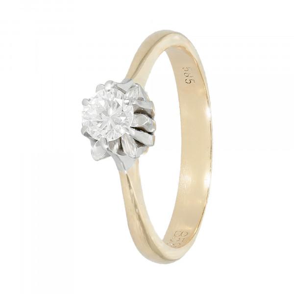 Ring 585 bicolor mit 1 Brillant ca. 0,30 ct.