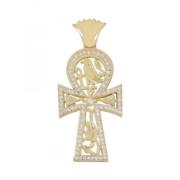 """Anhänger Gelbgold 18 Karat """"Ägyptisches Kreuz"""" mit ca.0,94 ct."""