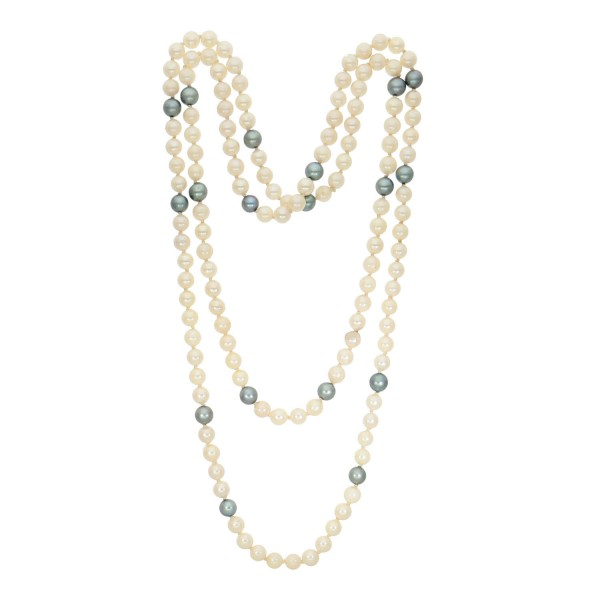 Perlenkette 2 farbig weiß/grau endlos