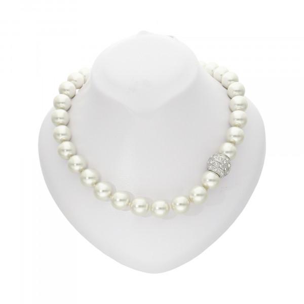 """Perlenkette """"XXL"""" weiß mit Magnetverschluss silber"""