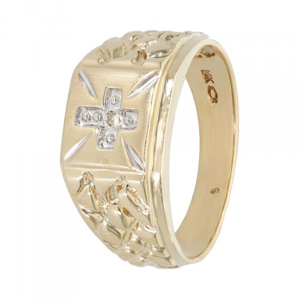 Ring 14 Karat bicolor Kreuz mit Zirkonia