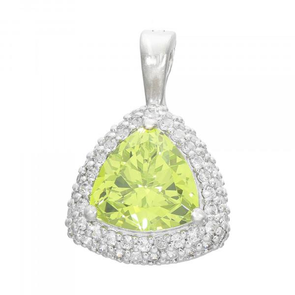 Anhänger Silber 925 mit grün Kristall und weiß Zirkonia