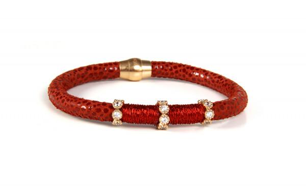 Armband Leder/Kupfer rot mit Zirkonia