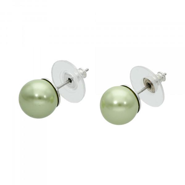 Ohrstecker Perle grün in Mallorca Qualität 10 mm