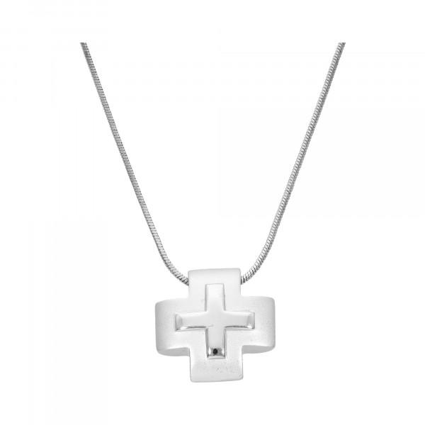 Schlangenkette Metall mit Kreuz-Anhänger