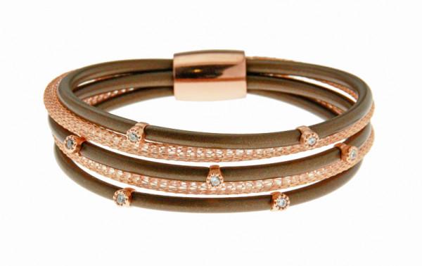 Armband Kupfer/Kautschuk bronze 5 reihig mit Zirkonia