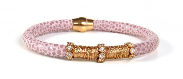 Armband Leder hautfarbig mit Zirkonia