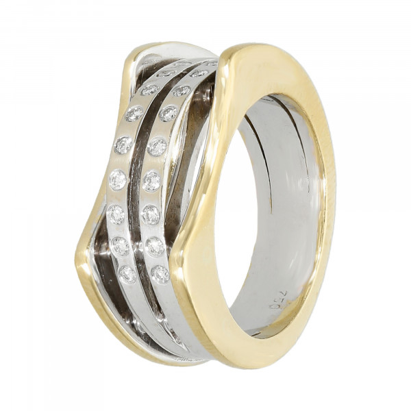 Ring 750 bicolor mit Brillanten ca. 0,18 ct.