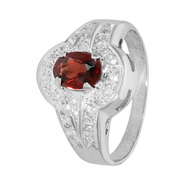 Ring Weißgold 585 mit Granat und Diamanten ca.0,26ct.