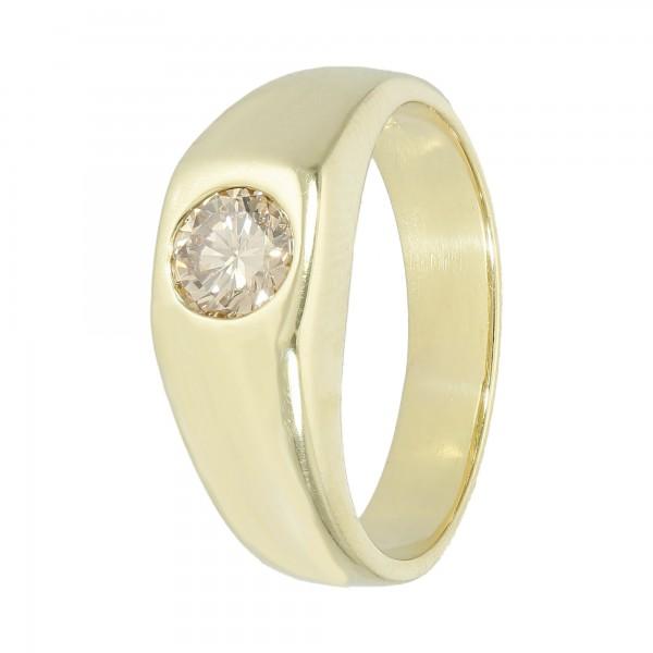 Ring Gelbgold 585 mit 1 Brillanten bräunlich ca. 0,50 ct.
