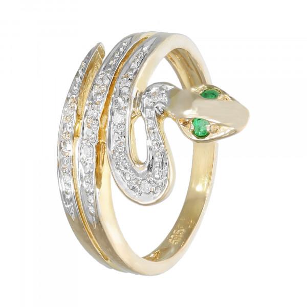 """Ring 585 bicolor mit Smaragd und Diamant """"Schlange"""""""