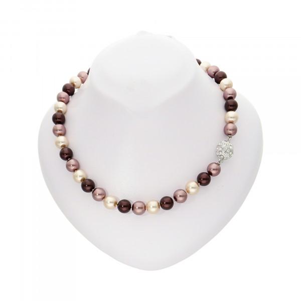 Perlenkette beere/kupfer/creme mit Magnetverschluss silber