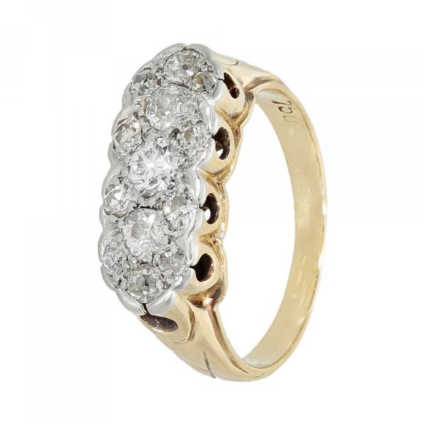 Ring 750 bicolor mit Brillanten Altschliff ca. 1.06 ct.