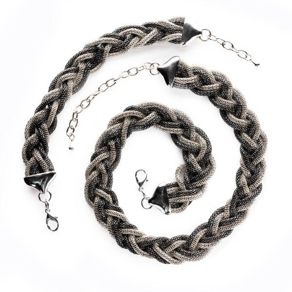 Set aus Collier & Armband geflochten anthrazit/schwarz 40-48 cm