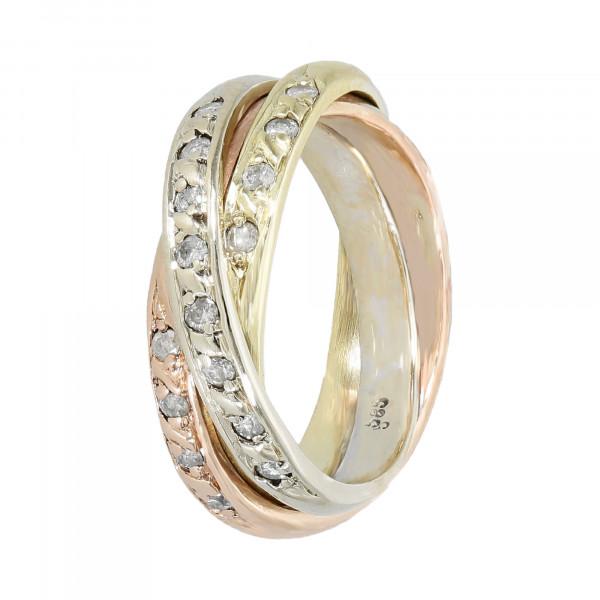 Ring 585 3 farbig mit Brillanten ca. 0,32 ct.