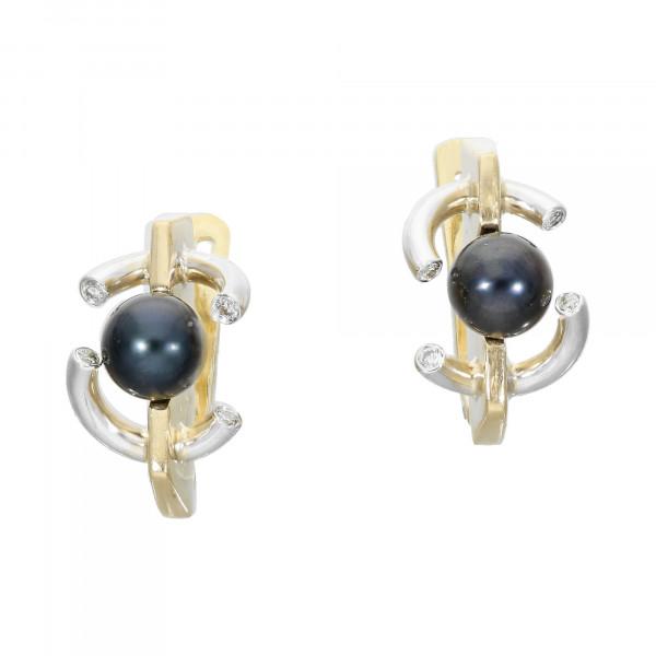 Ohrstecker 750 bicolor mit je 1 grau Perle + Diamanten ca. 0,08 ct.