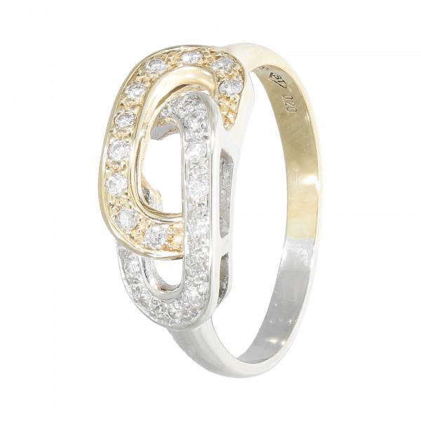 Ring 585 bicolor mit Diamanten ca. 0,20 ct.