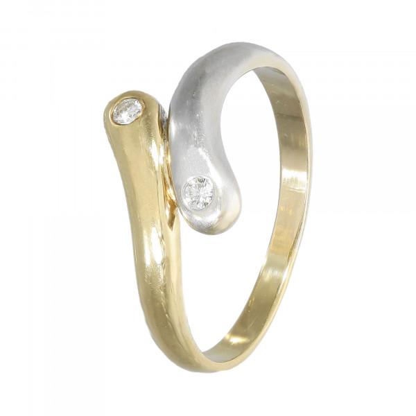 Ring 18 Karat bicolor mit Brillant ca.0,08ct