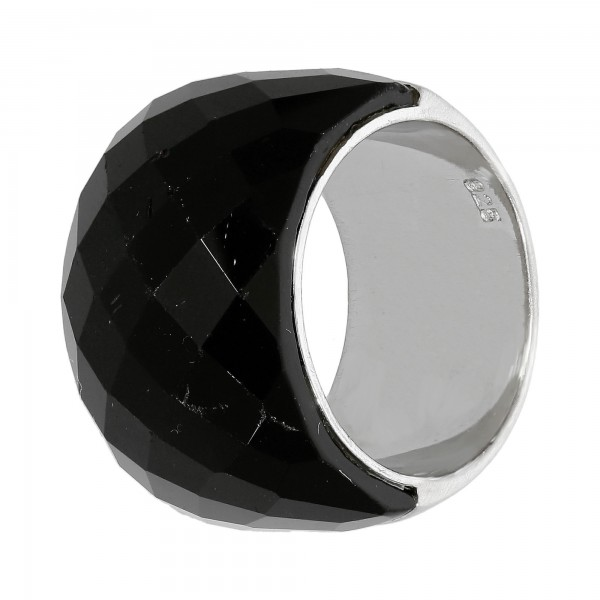 Ring 925 Silber mit Onyx facettiert