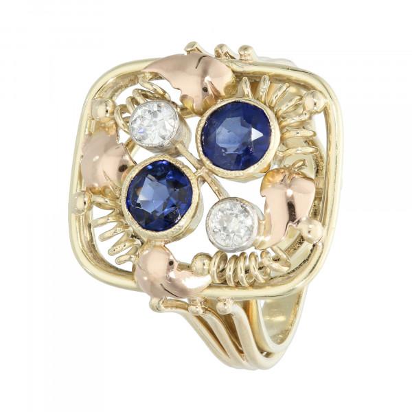 Ring 585 Gelbgold mit Saphir und Brillant