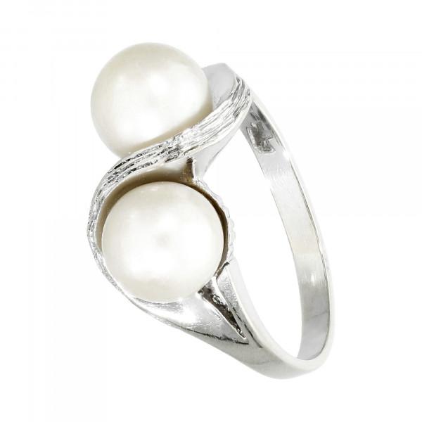 Ring 585 Weißgold mit Perlen