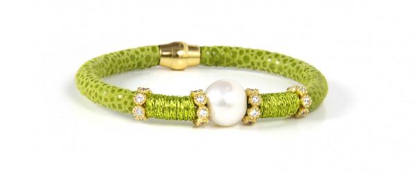 Armband Leder/Kupfer lindgrün mit Perle + Zirkonia