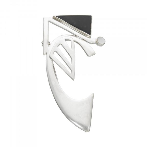 Brosche Silber 925 mit Onxy + Perlmutt