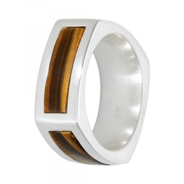 Ring 925 Silber eckig mit Tigerauge