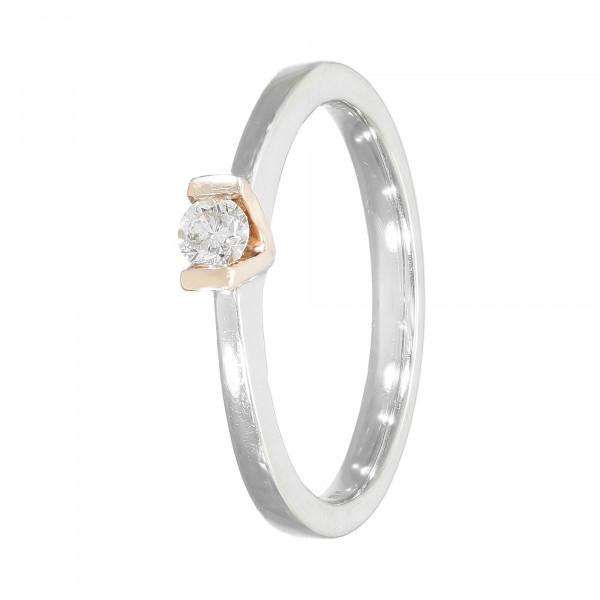 Ring 585 bicolor mit Brillant ca.0,14 ct.