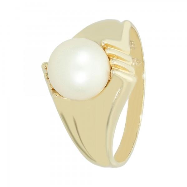 Ring 585 Gelbgold mit 1 Perle